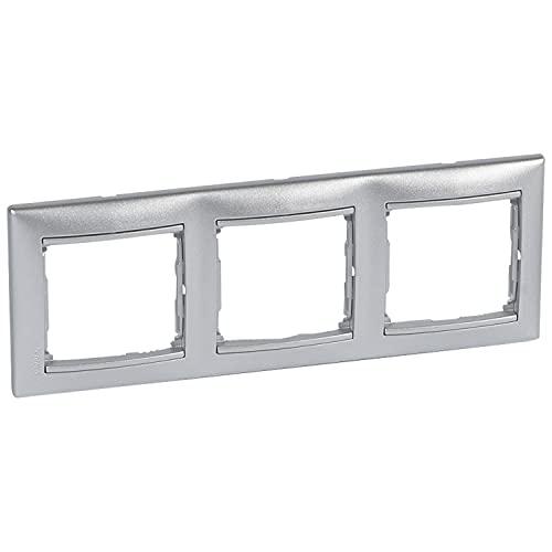 Placa marco enchufe de 3 elementos horizontal, modelo Valena, color aluminio, 6 x 24 x 8,5 centímetros (referencia: Legrand 770153)