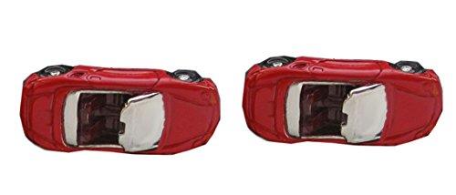Unbekannt Manschettenknöpfe Sportwagen Cabrio sportliches Auto überwiegend rot + Geschenkbox