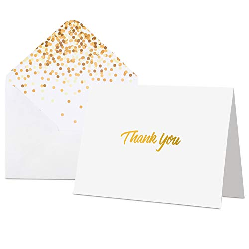 thank you notes 100 Thank You Cards with Envelopes - Thank You Notes, White & Gold Foil - Blank Cards with Envelopes - For Business, Wedding, Graduation, Baby/Bridal Shower, Funeral, Professional Thank You Cards Bulk