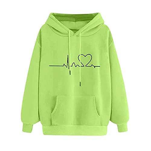Wave166 Sudadera de mujer monocolor con capucha EKG estampada, camiseta de manga larga y cuello redondo, cómoda e informal, para uso diario, verde, XL