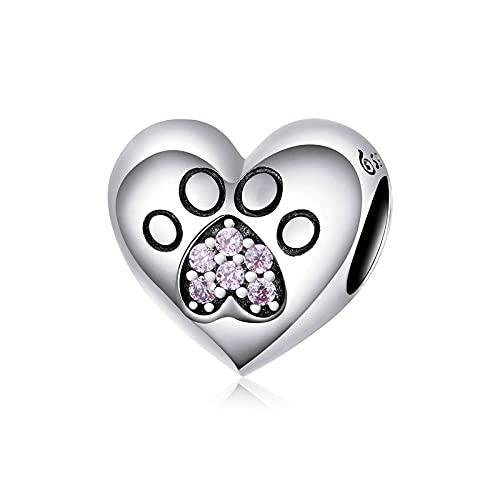 LISHOU Regalo De Mujer 925 Plata De Ley Pata De Gato Huella En Forma De Corazón Colgante De Abalorios Ajuste Original Pulsera Collar con Cuentas Fabricación De Joyas De Bricolaje