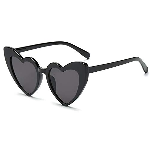 New Energy Sonnenbrille, Herzform, Retro, Vintage, Katzenauge, 400 UV (schwarz)