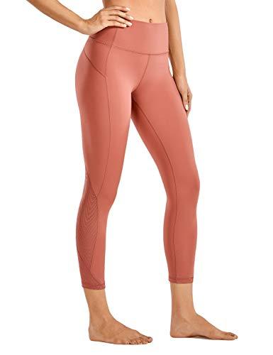CRZ YOGA Leggins Mujer Deportivos Bolsillos de la Pretina Yoga Pantalones Patas de Malla de Rejilla-53cm Azúcar quemada 40