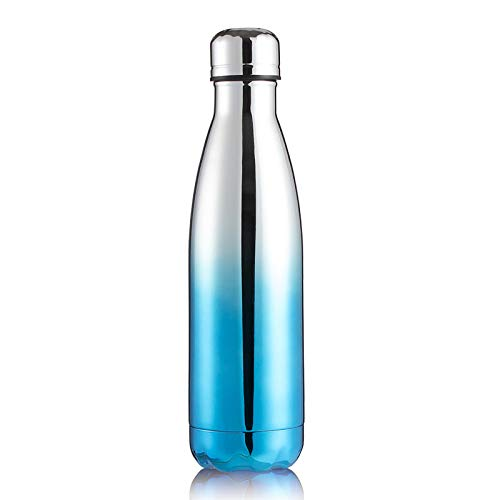 langchao Coke Botella Termo de Acero Inoxidable Botella de Agua Deportiva Botella de Agua Regalo Creativo transfronterizo Chapado-Plata Azul 500ml