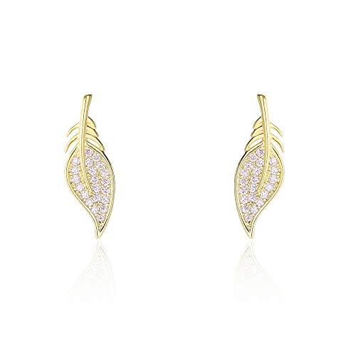 New earrings small fresh wild forest sweet s925 sterling silver tree leaf zircon earrings C