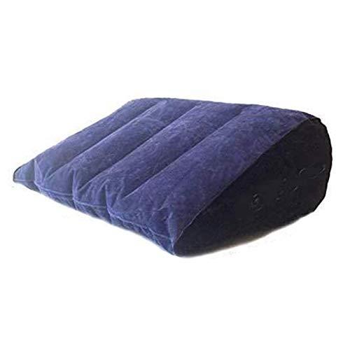 JIAHU CHCH Almohada triangular inflable simple, fácil de almacenar muebles azul + tubo inflable gratis