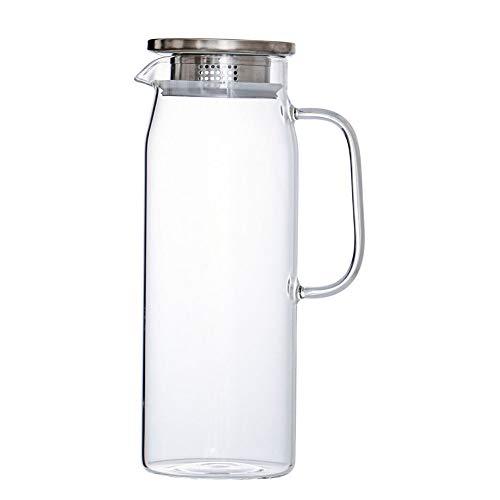 Jarra de Agua Cristal 1,5 litros Agua Jarra Botella de Cristal con Tapa Acero Inoxidable Jarras de Vidrio Color Transparente