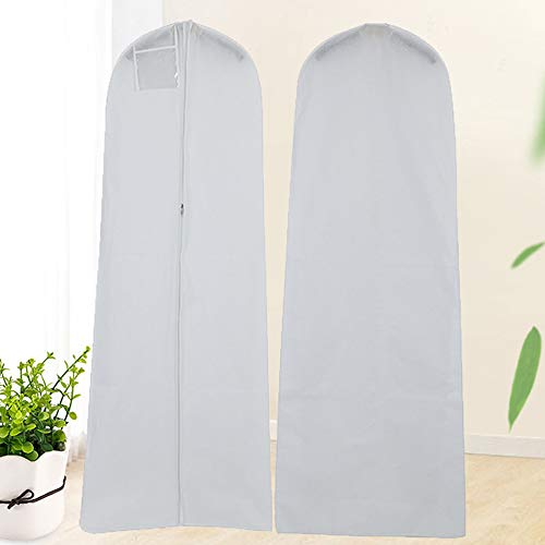 180cm/71inch Wedding Gown Dress Garment Bags Clothes Carry Cover with Mesh Pocket for Bridal Wedding Special Occasion Dresses