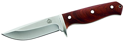 Puma Tec Erwachsene Gürtelmesser, AISI 420 Stahl, Tengwood Griffschalen, Lederscheide, Mehrfarbig, One Size