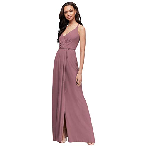 David's Bridal Double-Strap Long Georgette Bridesmaid Wrap Bridesmaid Dress Style F19755, Quartz, 14