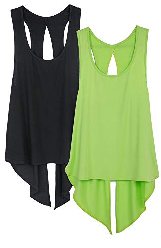 icyzone Sexy Yoga Tops Workout Clothes Racerback Tank Top for Sport Women (M, Black/Greenery)(Pack of 2)