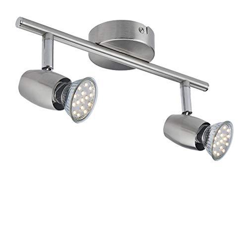 SEESEER LED Deckenleuchte, Schwenkbar,LED Deckenstrahler, 2- Flammig, inkl. 2 x 3W GU10 LED Leuchtmittel, 280LM,Warmweiß Lichtfarbe, Spotbalken, Deckenlampe, Deckenspot