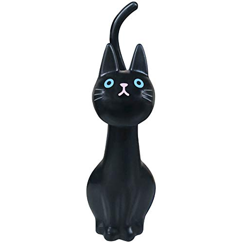 明邦 トイレブラシ おしゃれ 黒 猫のしっぽ (ケース付き)