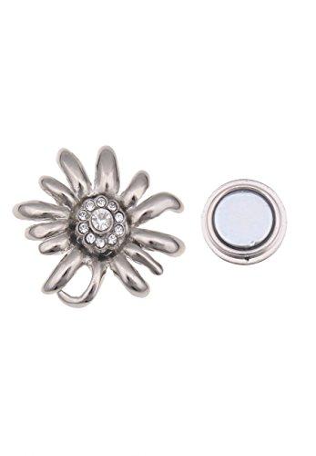 Leslii Damen-Pin Magnet-Brosche Oktoberfest-Schmuck Wiesn-Schmuck Trachten Edelweiß Modeschmuck Strass-Pin 3cm in Silber