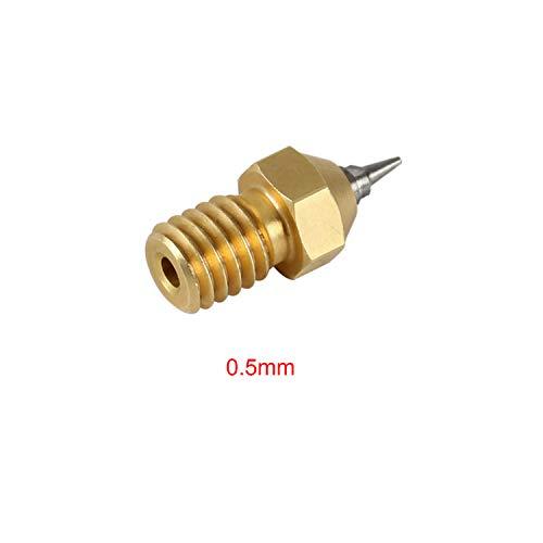 Nozzle Adapter Set,Entweg 3D Printer Parts M6 Threaded Brass Nozzle Adapter Set Tip 0.2mm 0.3mm 0.4mm 0.5mm Optional Print Head Compatible with V5 V6 Hotend 1.75 Filament