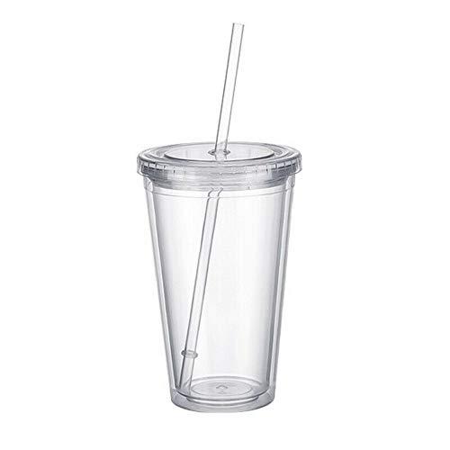 RYUNQ Taza de doble pared con tapa y paja Botella de agua de plástico transparente Vaso bebidas hielo frío café jugo té beber taza de viaje tazas de embalaje con tapa, 500 ml/17 oz