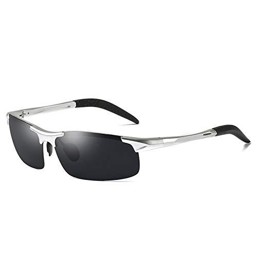 LALB Gafas De Sol, Gafas De Sol Polarizadas para Deportes De Medio Marco De Magnesio De Aluminio para Hombre, Visión Nocturna Día Y Gafas De Sol Polarizadas Nocturnas,C