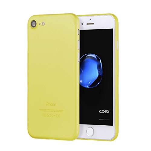 doupi UltraSlim Custodia per iPhone SE (2020) / iPhone 8/7 (4,7 Pollici), Satinato fine Piuma Facile Mat Semi Trasparente Cover, Giallo