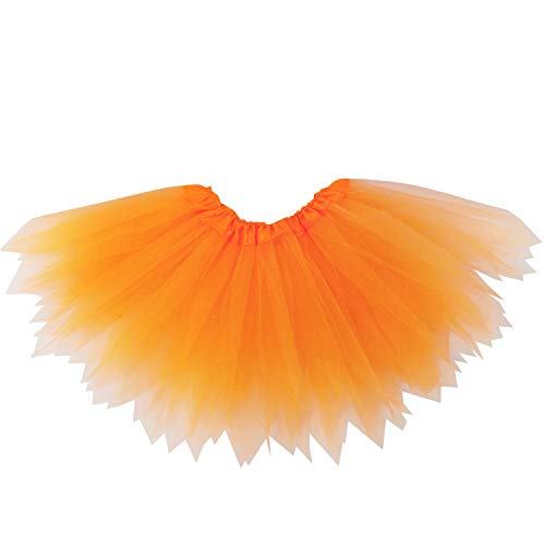 So Sydney Adult Plus Kids Size Pixie Fairy Tutu Skirt Halloween Costume Dress Up (XL (Plus Size), Neon Orange)