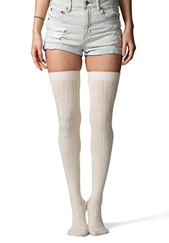 Love Classic Women's Ivory Ribbed Cotton Thigh High Socks Over the Knee Boot Leg Warmers
