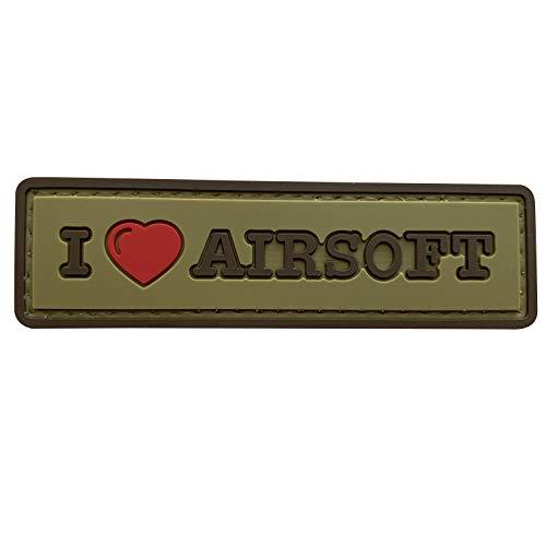 uuKen Sweety I Love Airsoft Tab PVC Gummi Tactical Patch 8,4 x 2,5 cm mit Hakenverschluss Rückseite für Operator Caps Military Uniform (hellbraun)