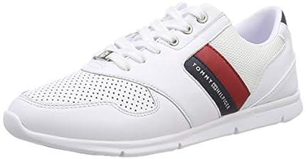 Tommy Hilfiger Lightweight Leather Sneaker, Zapatillas Mujer, Rojo (RWB 020), 39 EU