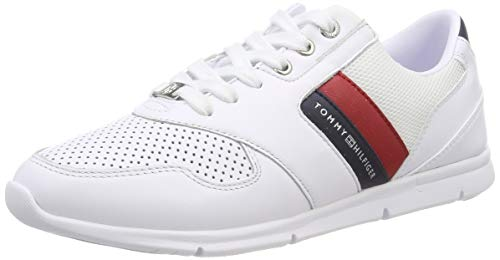 Tommy Hilfiger Damen Lightweight Leather Sneaker, Rot (Rwb 020), 39 EU