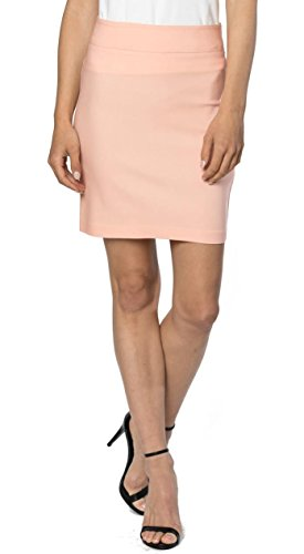 Velucci Womens Stretchable Mini Pencil Skirt - Above The Knee 19' Length Classic Skirt, Light Coral-S