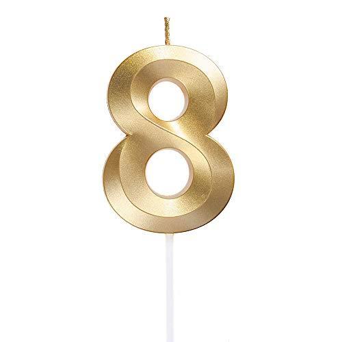 Yue QIN Compleanno Candele Compleanno Candele Numerali Glitter d'oro Candele Candele per Feste e Compleanni per Rifornimenti di Celebrazione di Anniversario di Matrimonio di Compleanno(Numero 8)