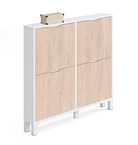 Muebles Pitarch Kay Zapatero, Aglomerado de Partículas y Melamina de Alta Densidad, Blanco Alto Brillo/Aurora, 98 x 97 x 17 cm