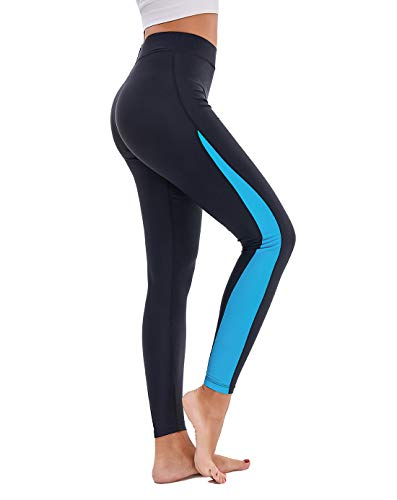 Scodi Women's Surfing Leggings Swimming High-Waisted Tights UPF 50+(Blue,L)
