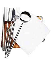 Pocket Size Portable Utensils Set with Cork Lined Travel Case & Coconut Coir Cleaning Cloth, Reusable Travel Cutlery, Portable Silverware Flatware for Camping and Dining, Personal Lunch Set (Silver)