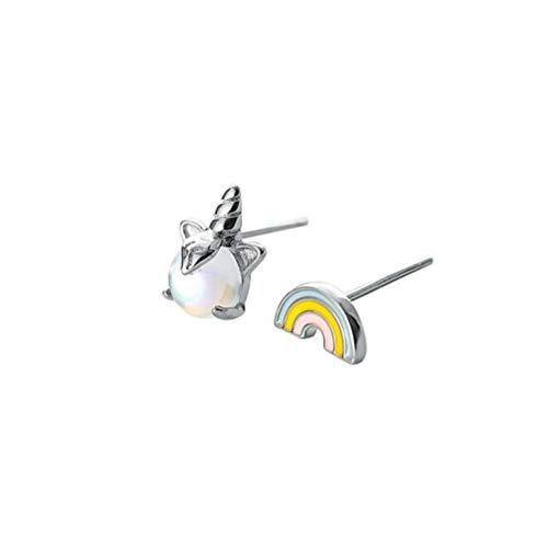 WOZUIMEI Plata de Ley 925 Aurora Cristal Arco Iris Unicornio Pendientes Mujer Color Mágico...