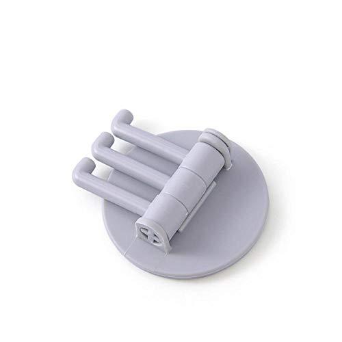 Gancho giratorio de pared autoadhesivo adhesivo para cocina, hogar, cuarto de baño, bolsa de llaves, percha de almacenamiento, soporte para colgar con 3 brazos plegables, color gris claro