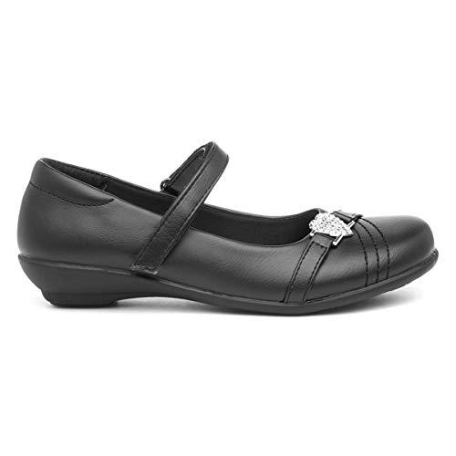 Walkright Girls Black Embellished Flat Shoe - Size 9 Child UK - Black