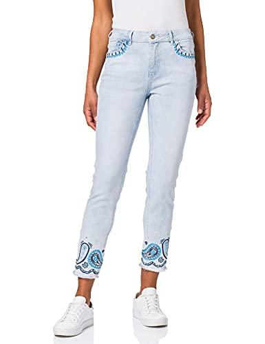 Desigual Womens Denim_Ankle PAISL Casual Pants, Blue, 34