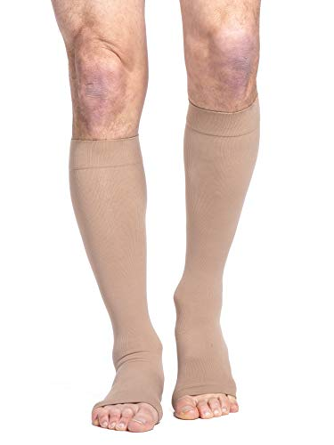 SIGVARIS Men's & Women's Essential Cotton 230 Open Toe Calf-High Socks 30-40mmHg