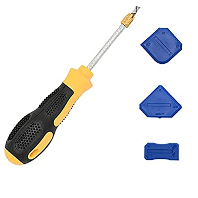 VALUCKEE Grout Removal Tool, Caulking Removal Tool, Grout Scraper, Remove Grout or Cleaning for Tile Joints Seams Corner, Tile Grout Hand Saw, with 3 Silicone Sealant Tools, Sealant Finishing Tool
