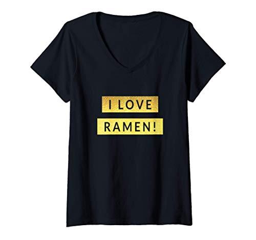 Womens Ramen ラーメン Japanese Hiragana V-Neck T-Shirt