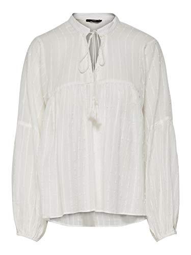 ONLY Damen Onlnew Elisa LS Stripe DOT DNM Blouse Bluse, Weiß (Cloud Dancer Cloud Dancer), Small (Herstellergröße: 36)