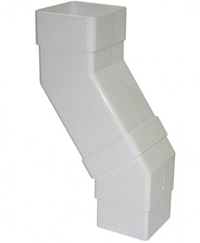 FLOPLAST 65mm Square Downpipe Adjustable Offset Bend - White by FloPlast