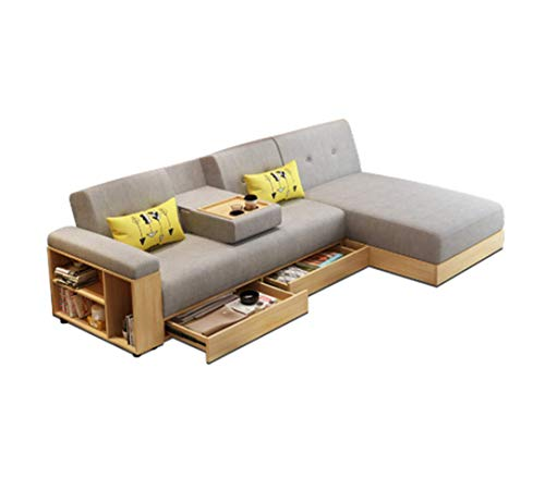 kde Fabrickarois Sofa L-Shaped Corner with Chaise Longue Nordic Living Room Can Store Storage Function