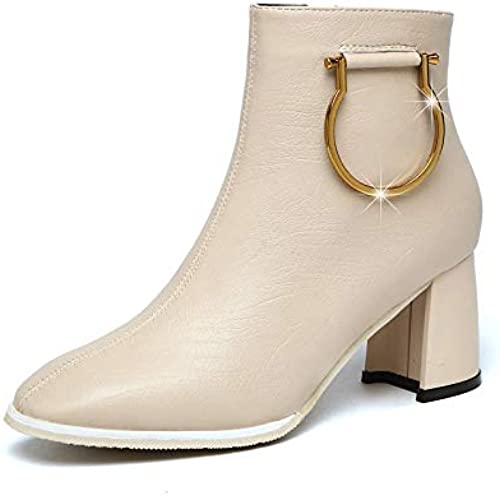 HOESCZS botas Martin botas De Tacón Alto botas Cortas De Invierno para mujer Cabeza Cuadrada botas para mujer Cremallera Lateral Salvaje botas Martin