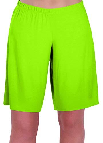 EyeCatch - Stern Damen Jersey Entspannt Komfort Elastisch Flexi Strecken Damen Kurze Hose Plus Größen (50/52, Neon grün)