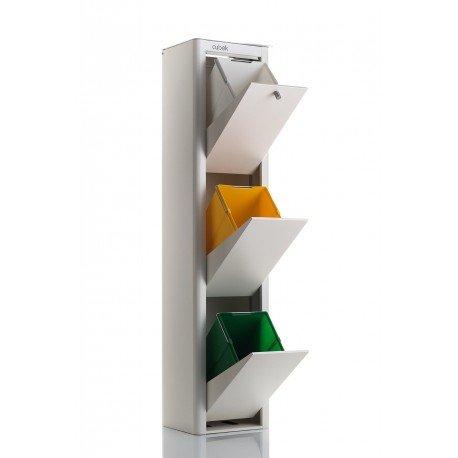 DON HIERRO - CUBEK - Cubo de basura y reciclaje, con 3 compartimentos.