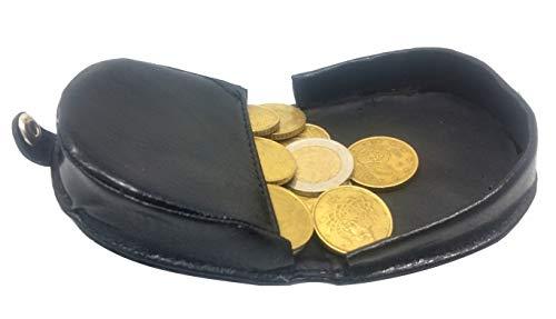 PORTAMONETE TACCO Uomo Donna ECO PELLE Porta Monete PICCOLO Tascabile - Portafoglio da Tasca Borsa Auto Viaggio (Nero)