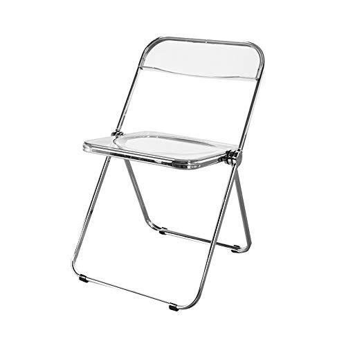Folding chair Moderner minimalistischer PC Transparenter Stuhl Klappstuhl Haushalts-Esszimmerstuhl Acrylstuhl Make-up-Stuhl rutschfeste Fußpolster