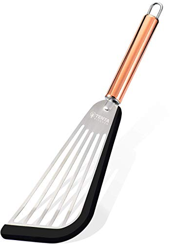 TENTA TENTA KITCHEN Ultra Flexible Stainless Steel Spatula With Silicone Top Soft Edge Slotted Spatula Turner Gold Handel1pc