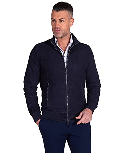 D'Arienzo Mens Italian Navy Blue Leather Bomber Jacket Genuine Leather Made in Italy 106