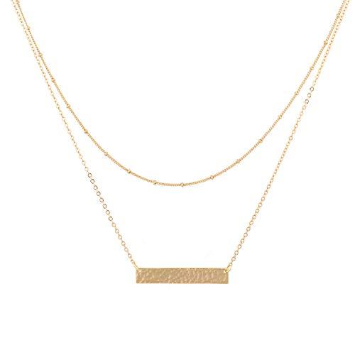 Mevecco Collar con colgante de corazón con capas, hecho a mano, chapado en oro de 18 quilates, diseño de flecha, collar largo para mujer.